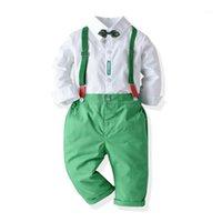 Giyim Setleri 2021 Moda Çocuklar Boy Noel Yeşil Tulum Takım Elbise Yaka Boyun Yay Düğmeler Uzun Kollu Gömlek + Elastik Askı Pantolon Sonbahar1