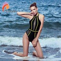 ملابس السباحة Andzhelika مثير قطعة واحدة حمالة ملابس السباحة شبكة المرقعة فتاة عارية الذراعين ارتداءها الصيف الاستحمام البدلة monokini AK75064
