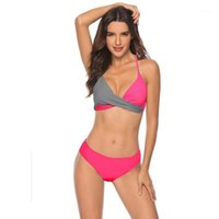 2020 جديد ملابس السباحة المرأة أوروبا وأمريكا مثير الصلب حزمة سبليت ملابس السباحة مطابقة ملابس البيكيني S-3XL الجملة 1