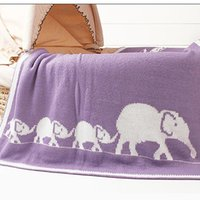 New Cartoon Elephant Printed Baby Blanket Knitted Newborn Sw...