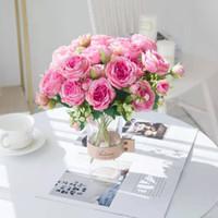 Simülasyon Beyaz Yapay Çiçekler Ipek Şakayık Gül Düğün Vazolar Dekor Gelin Buket Köpük Aksesuarları Zanaat DIY Hediyeler Sahte Bitkiler YYS4508