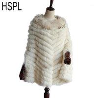 Chales HSPL 2021 Punto de piel real Poncho de piel con mapache Corte de moda Mujeres Otoño Lujo Lujo Wrap1