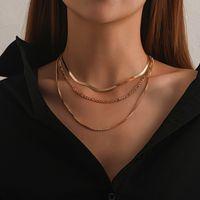 Hip Hop Punk Многослойный плоский клинок Snake Link Chain Choker ожерелье Простой Золото Серебро Цвет Воротник Ожерелье для женщин ювелирные изделия