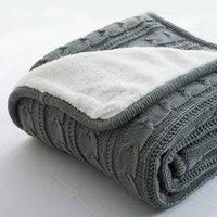 Heißer Verkauf plus Samt dicke gestrickte Decke Hohe Qualität Winter warm gestrickte Wolldecke Sofa / Bettabdeckung Quiltgestrickte leere 201113