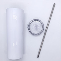 Amazon Custom 20 Oz Caneca Reta Sublimação Em Branco Branco Aço Inoxidável Vácuo De Vácuo Skinny Tumbler com palha da tampa