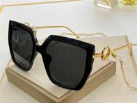 새로운 패션 디자인 여자 선글라스 0410S 사각 접시 프레임 귀 체인 디자인 UV 400 보호 안경을 가진 인기 간단한 스타일