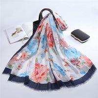 2021 Mode et haute qualité Nouveau Soft Satin Print Echarpe Foulard Muslim Summer Style de fleur décoratif de style longue durée de serviette disponible en gros