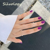 Silvology 925 Sterling Silver Pearl Smile Rings Original Minimalist Creative Chic Open Rings for Women Mori Style Party Jewelry