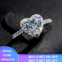 100% Original 925 anneaux d'argent pour femmes Princesse Mariage Proposer Coeur Zircon Bague romantique Bijoux de mariée R099