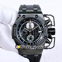3A New Oak 44mm 26165 Miyota Cuarzo Cronógrafo Reloj Hombre Textura Negro TEXTURA DIAL PVD All Black Steel Strap Strap Sport Watches Hello_Watch