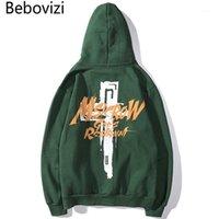 BEBOVIZI Hohe Qualität 2019 Herbst Herren Hip Hop Wear Cross Print Hoodie Sweatshirt Harajuku Aprikosen Hoodies Pullover Streetwear1