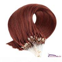 """# 33 Dark Auburn micro anel extensões de cabelo 0.5g s 100 fios Remy salão de cabeleireiro qualidade silicone micro grânulos loop cabelo humano 16-22 """"rápido"""