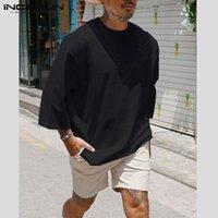 Moda uomo Casual T Shirt in cotone Pianura in cotone 3/4 Crew a 3/4 Collo 2020 T-shirt larghi Hombre Streetwear Plus Size