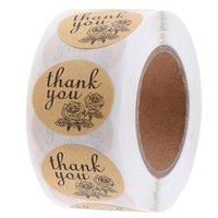 500 teile / rolle danke Aufkleber verpackung papier verschiedene stil kraft dichtung label aufkleber diy geschenk dekoration und kuchen backen paket diamdurchmesser 1 zoll 0252pack