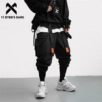 11 BYBB'nin Karanlık Streetwear Çıkarılabilir Şerit Kargo Pantolon Adam Hip Hop Fonksiyonu Taktik Pantolon Elastik Bel Jogger Erkekler Pantolon 201116