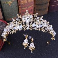 Forseven High mode élégant brillant perles de cristal de cristal diaras couronnes goujons boucles boucles d'oreilles pince de mariée noiiva mariage