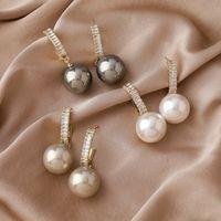 925 إبرة SIER مع الزركون البريق الفرنسي معدن بيرل أقراط الإناث الأزياء