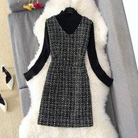 Sonbahar Kış 2 Parça Set Tulum Elbise Kadınlar Zarif Siyah Uzun Kollu Örgü Gömlek Üst + T Yelek Q0111