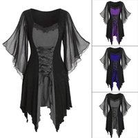 캐주얼 드레스 2021 할로윈 고딕 레이스 드레스 레트로 중세 불규칙한 꽃 검은 섹시한 중공 ruffled flared sleeve1