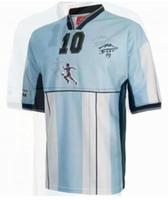 2001 Diego Armando Maradona Retro Home Soccer Jersey Camiseta Argentina Partido HomeAje Diego Maradona Camicia da calcio pensionamento