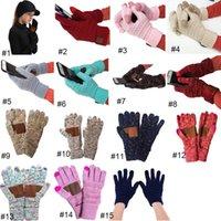 15 Farben CC gestrickte Handschuhe Mann Frau Feste Winter warm Tragbare Handschuh Outdoor-Sport Five Fingers Touch Screen Handschuhe