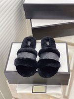 Fashionable women slippers winter fluffy furry slippers blue...
