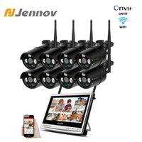 """Système sans fil de la caméra de Jennov 8CH 1080P Système sans fil 12 """"écran LCD NVR 3TB WIFI 2MP CCTV Caméra vidéo Set d'extérieur"""