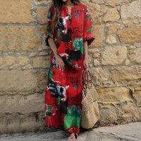 Günlük Elbiseler 2021 Yaz Moda Baskılı Uzun Elbise Vintage Parti Bohemian Pamuk Keten Kadın Kaftan Vestido Femme Sundress1