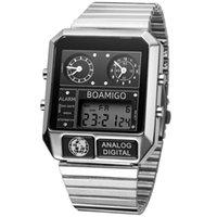 2020 новый BOAMIGO бренд мужчина 3 часовой пояс часы мужчина спорт цифровые часы нержавеющая сталь военные кварцевые часы Relogio Masculino LJ201123