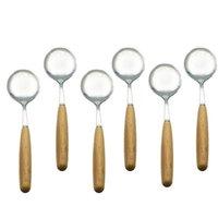Kaşıklar Basit Stil Paslanmaz Çelik Yemeği Kaşık Kahve Çorbası Ahşap Kolu ile Flayware Yemek Seti Sofra 6 adet / takım