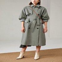 Великобритания Новая мода осень / осень повседневная двубортная простая классическая длинная траншея с ремнем шикарной женской веткой 201016