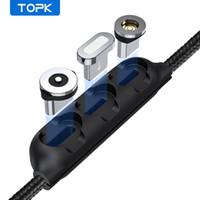 Topk 1 / 5pcs 마그네틱 케이블 플러그 케이스 휴대용 보관함 자석 충전기 플러그 마이크로 USB 유형 C 커넥터 저장 상자 케이스
