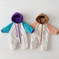Winter warm dicke Kleidung infant Baby Schneeanzug Jungen Mädchen Strampler doppelseitig Kleinkind Daunenjacke mit Kapuze Jumpsuit Outfits 201026