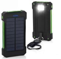 20000mAh 태양 전원 은행 충전기 LED 손전등 캠핑 램프 더블 헤드 배터리 패널 방수 야외 충전 전화