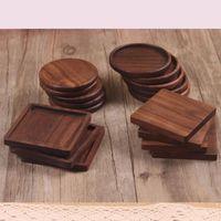 자연 나무 컵 받침 그릇 패드 커피 티 컵 매트 블랙 호두 컵 매트 디너 플레이트 주방 바 홈 도구