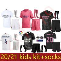 20 21 Gerçek Madrid Futbol Formaları Ev Uzakta Üçüncü 4th Futbol Kiti Tehlike Zidane Benzema Futbol Gömlek Camiseta De Futbol Erkekler Kids Setleri