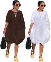 Femmes à manches longues Marque Robe Jupe Jupe Une pièce Robe Mode Lâche Automne Autumn Longueur Longueur Fashion O-Cou Womens Vêtements KLW2725
