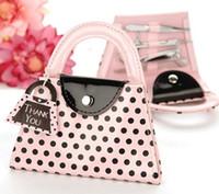 Roze polka dot portemonnee manicure set gunst nieuwigheid bruiloft bruids douche gift feestartikelen presenteren LX7017