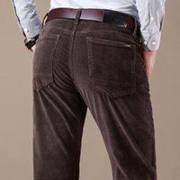 Calças casuais de corduro dos homens novos moda cor sólida cor elástica fit calça macho macho preto cáqui de café marinha 201116