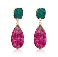 Nuovo design in pietra naturale orecchini romantici per le ragazze stile coreano singolo design rosso verde cristallo dangle orecchini regalo1