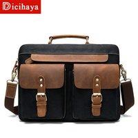 حقائب Dicihaya جلد طبيعي جلد البقر حقيبة يد مع حقيبة قماش ريترو الأعمال 14 بوصة حقيبة كمبيوتر الرجال