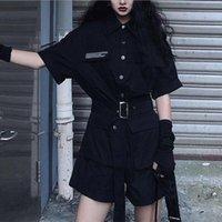 TiLeewon Летний Комбинезон черный цвет высокой талии с коротким рукавом Широкий ноги игровая одежда Straight Мода Женщины игровая одежда Solid Color