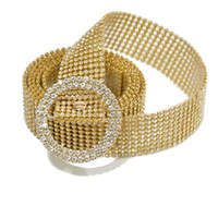 Women Waist- Belt Luxury Rhinestone Silver Gold 115cm Chain B...