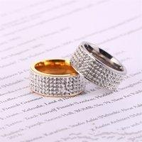 Paslanmaz Çelik Yüzük Çamur Matkap Kristal Kadın Kaplama Altın Nişan Yüzükler Kadınlar Için Süsler Düğün Yüksek Kalite 3 5gx K2B