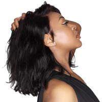 13x4 Breve Bob Pizzo anteriore parrucche per capelli umani Wigs Natural Wave Brasiliano Remy Capelli pizzo parrucca frontale 130% Densità per le donne nere RUZY