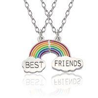 2pcs / conjunto de colores del arco iris nubes colgante collar Puzzle mejor amigo BFF regalo de la joyería de los niños