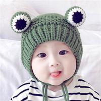 Enfants mignon Grenouille d'hiver chaud Beanies Polaire Bonnet tricoté Skull Caps Mode Outdoor Kids Crochet Chapeaux Cap Earmuffs Chapeaux pour 6M-2Y LY1014