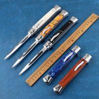 Recomendar cuchillo doble de la mafia italiana de 11 pulgadas 8 colores opcionales herramienta de supervivencia al aire libre al aire libre de la caza táctica cuchillo plegable herramienta al aire
