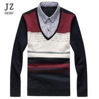 JZ رئيس الرجال الاحتفال وهمية twinset سترة التباين اللون محبوك سترة قميص طوق خليط وهمية اثنين من قطعة رشاقته 1