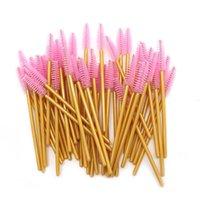 Makyaj Fırçalar 50 adet / takım Altın Kolu Aplikatör Biriktiriciler Fırça Aracı Kozmetik Kirpik Uzatma Tek Kullanımlık Maskara Değnekleri